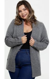 Capa Feminina Tricô Alongada Plus Size Marisa