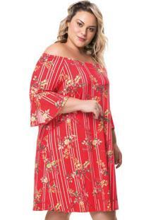 Vestido Vermelho Ciganinha Floral
