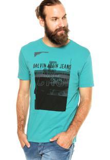 Camiseta Calvin Klein Jeans Estampa Verde