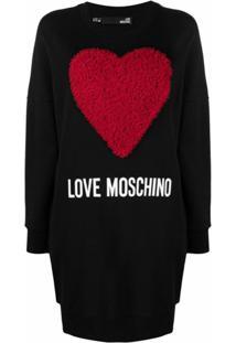 Love Moschino Vestido Esportivo Com Coração De Tule - Preto
