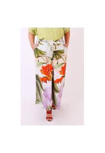Calça Almaria Plus Size Munny Estampada Pantalona Off-White