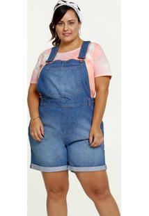 Jardineira Feminina Jeans Bolsos Plus Size Marisa