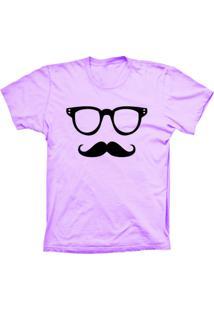 Camiseta Lu Geek Manga Curta Mustache Rosa