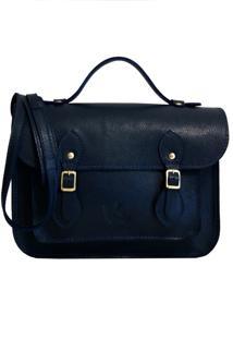 Bolsa Line Store Leather Satchel Pequena Couro Marinho. - Azul - Feminino - Dafiti
