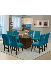 Mesa Para Sala De Jantar Saint Louis Com 8 Cadeiras – Dobuê Movelaria - Castanho / Turquesa