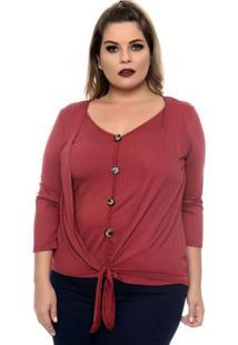 Blusa Carmim Vermelho Plus Size
