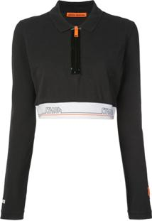 Heron Preston Camisa Polo Cropped Tape - Preto