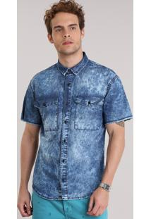 Camisa Jeans Marmorizada Azul Médio