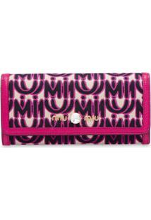 Miu Miu Carteira Com Mix De Materiais - Rosa