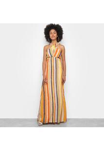 Vestido Longo Mercatto Listras Multi Color - Feminino-Laranja