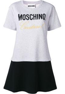Moschino Vestido Com Bordado - Cinza