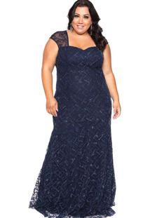 Vestido Longo Almaria Plus Size Pianeta Azul