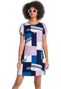 Vestido Estampado Curto Geométrico