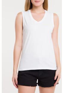 Blusa Ckj Fem Sm Logo Peito V - Branco 2 - Pp