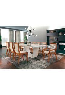 Conjunto De Mesa De Jantar Rubi Com 8 Cadeiras Pérola Iii Veludo Off White E Creme
