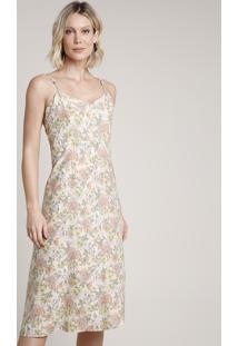 Vestido Feminino Midi Estampado Floral Alça Fina Decote V Bege Claro