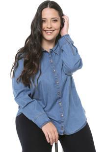 Camisa Cativa Plus Reta Azul