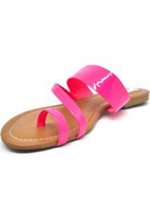 Rasteira Chinelo Tiras Neon Pink Dani K