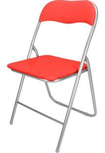 Cadeira Em Aço Dobrável 44X90Cm Vermelha