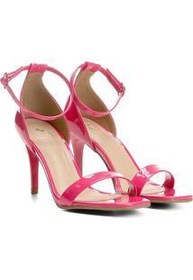 Sandália Ala Salto Fino Verniz Bico Quadrado Feminina - Feminino-Pink