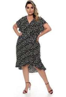 Vestido Poá Transpassado Plus Size