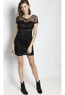 Vestido Em Renda Com Passamanaria- Preto- Le Fixle Fix