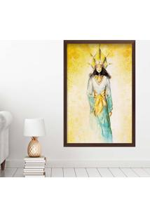 Quadro Love Decor Com Moldura Golden Woman Madeira Escura Grande