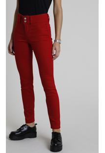 Calça De Sarja Feminina Skinny Pull Up Cintura Média Vermelho Escuro