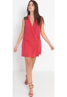 Vestido Com Recortes & Tule - Laranja Escuro & Pretoellus