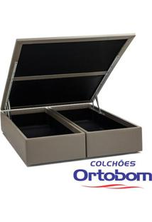 Box King Com Baú - Bi-Partido - Corino Crema - Ortobom