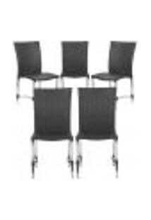Cadeiras 5Un Para Area Varanda Fibra Sintetica Sala Cozinha Jardim Sacada Florida - Preto