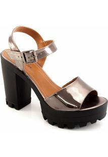 Sandalia Metalizada Tratorada Sapato Show 14015 - Feminino-Grafite