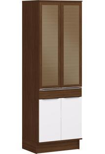 Armário De Cozinha 4 Portas Com Rodapés 70 Cm Cs606R Cacau/Branco - Decibal Móveis