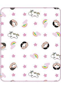 Cobertor Turma Da Mã´Nica Babyâ® - Branco & Rosa Claroinconfral