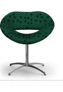 Cadeira Beijo Colmeia Preto E Verde Poltrona Decorativa Com Base Giratória