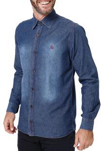 Camisa Jeans Amil - Azul Escuro-G