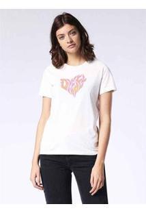 Camiseta Diesel T-Sily-H Feminina - Feminino-Branco