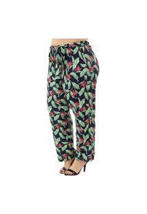 Calça Com Amarração Estampada Plus Size Feminina Donna Letta Verde