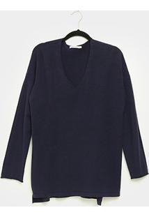 Suéter City Lady Plus Size Feminino - Feminino-Marinho