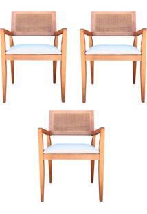 Kit 3 Cadeiras Decorativas Sala De Jantar Megan Amêndoa Linho Bege - Gran Belo