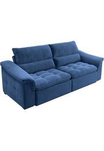 Sofá 3 Lugares Retrátil E Reclinável Nesting Veludo Azul Marinho 230 Cm