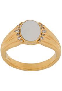 Astley Clarke Anel 'Luna Signet' Banhado A Ouro 18K - Metálico