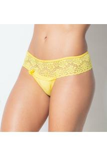 Calcinha Click Chique Pala Renda - Feminino-Amarelo