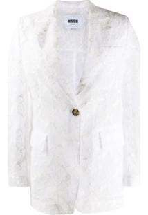 Msgm Blazer Abotoamento Simples Com Renda Floral - Branco