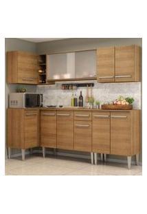 Cozinha Completa De Canto Madesa Emilly Point Com Balcão E Armário Vidro Rustic Cor:Rustic