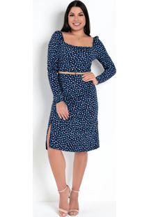 Vestido Poá Azul Com Fenda Frontal