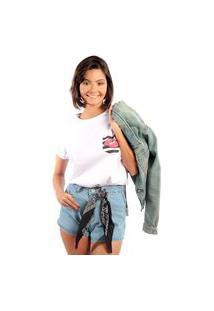 Camiseta Feminina Mirat Bolso Estampado Boca Branca