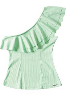 Blusa Ombro Só Com Babados Verde
