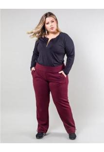 Calça Palank Plus Size Close Feminina - Feminino-Vinho