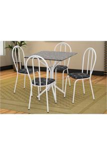 Jogo De Mesa Artefamol E 04 Cadeiras Thais Com Tampo Em Mdf Branca/Preto